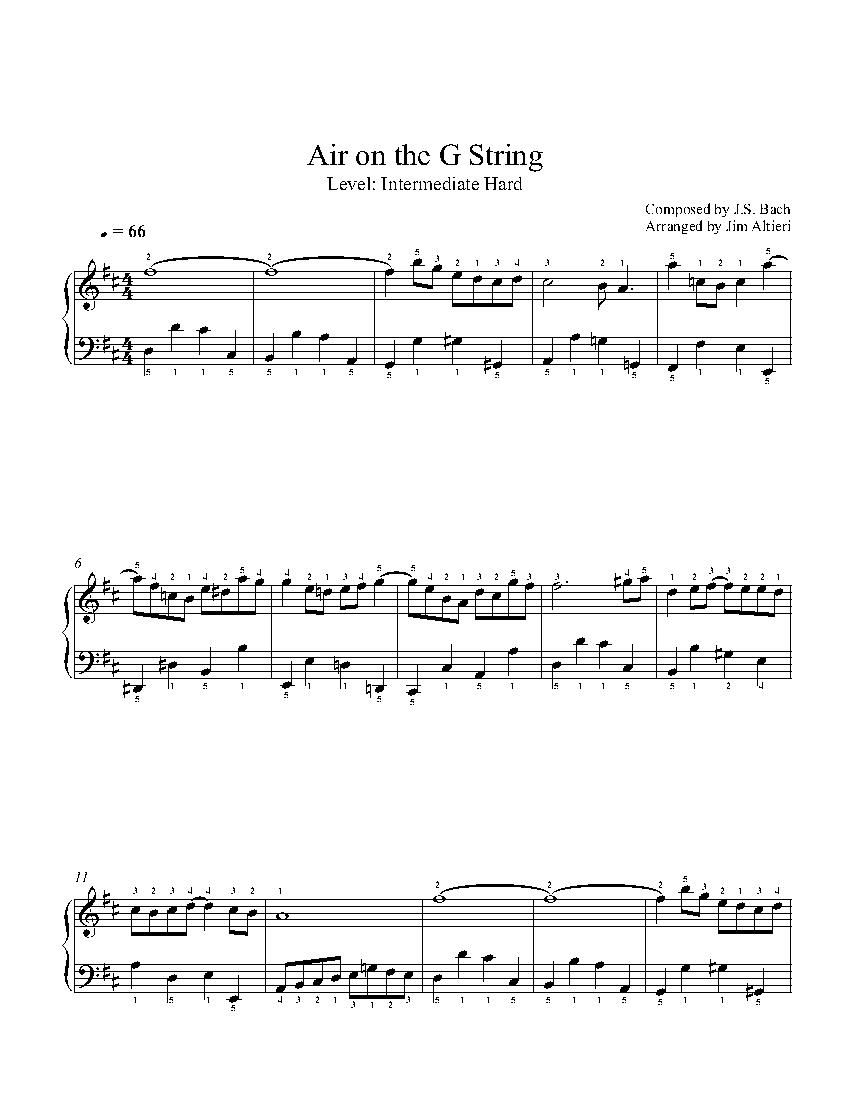 Air on the G String by J S  Bach Piano Sheet Music