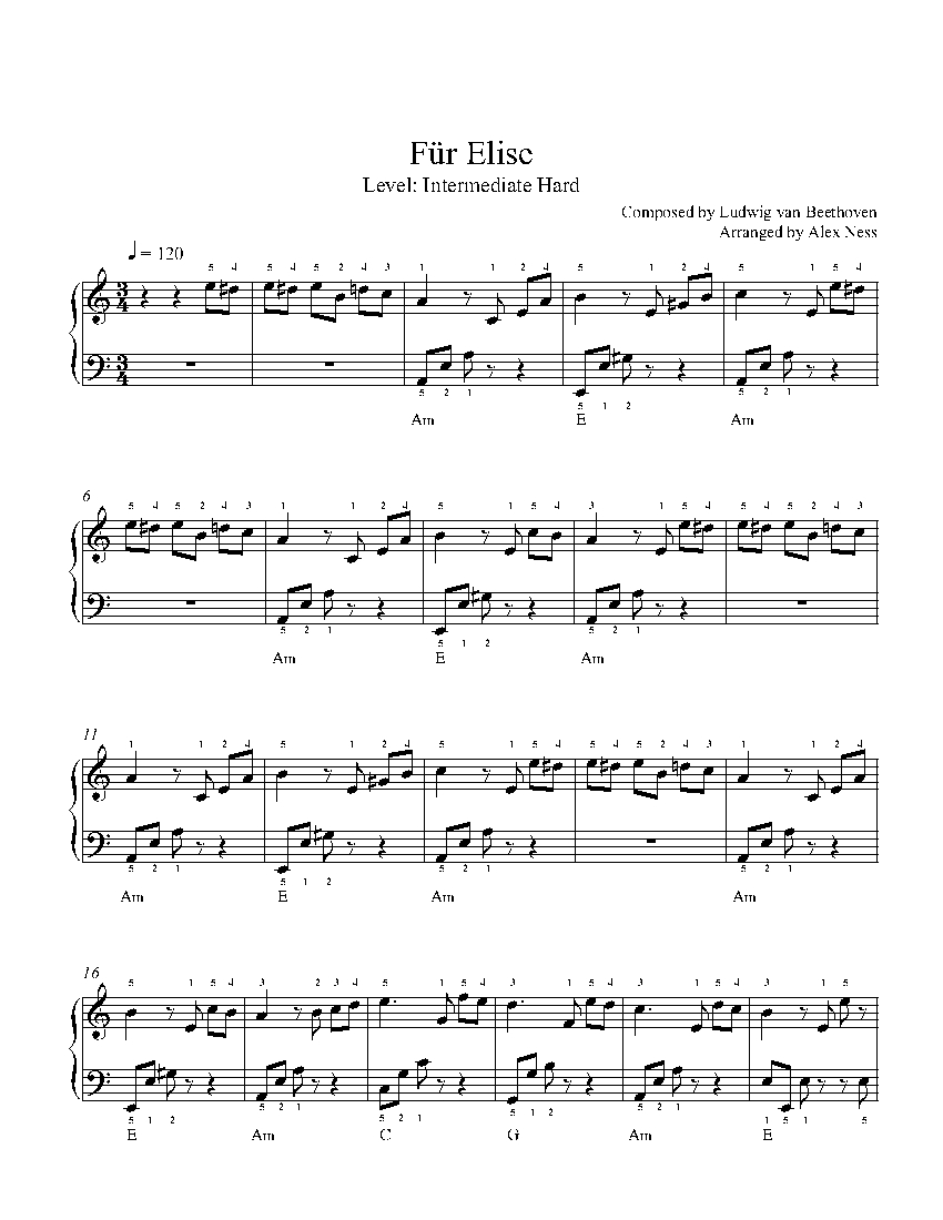 Für Elise By Ludwig Van Beethoven Piano Sheet Music