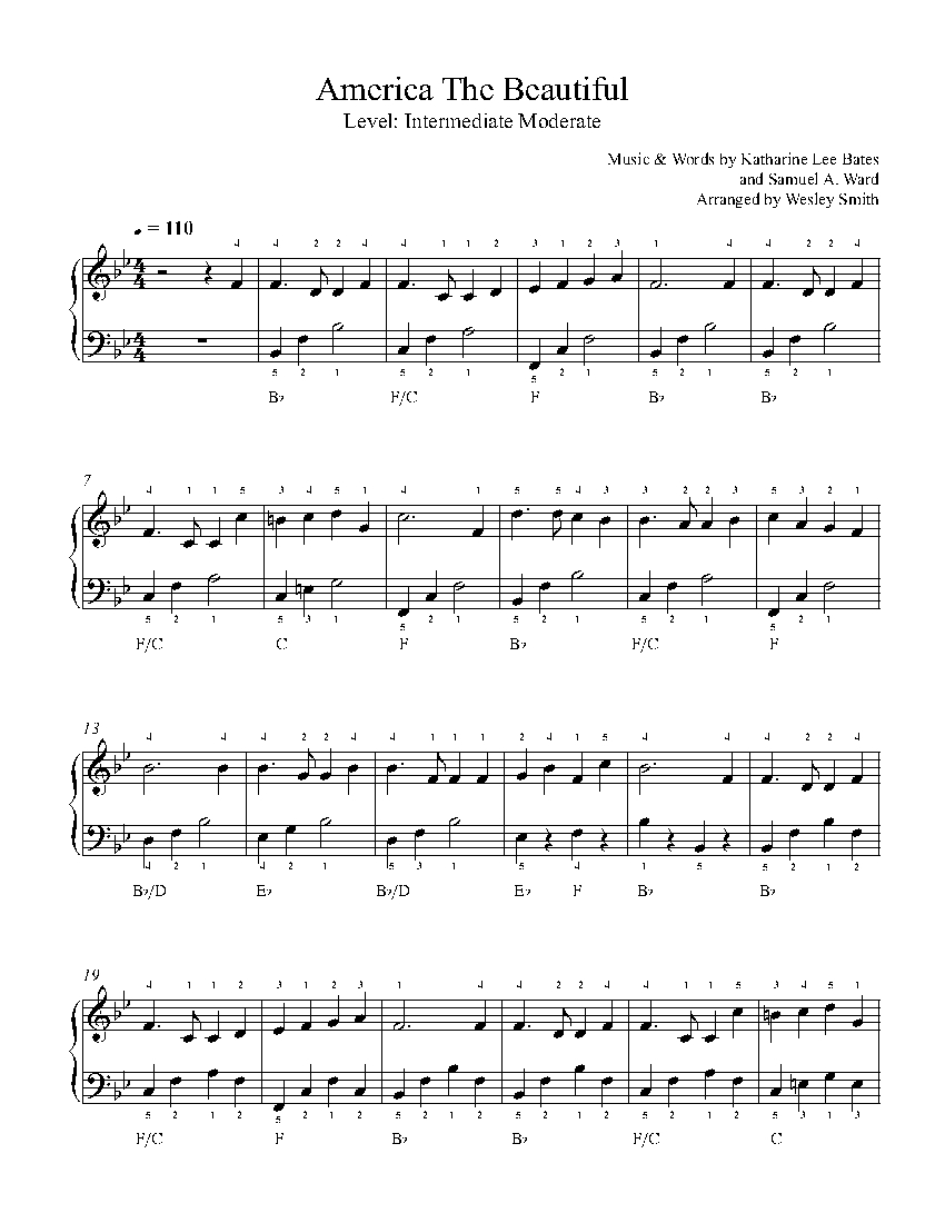 America the Beautiful by Traditional Piano Sheet Music