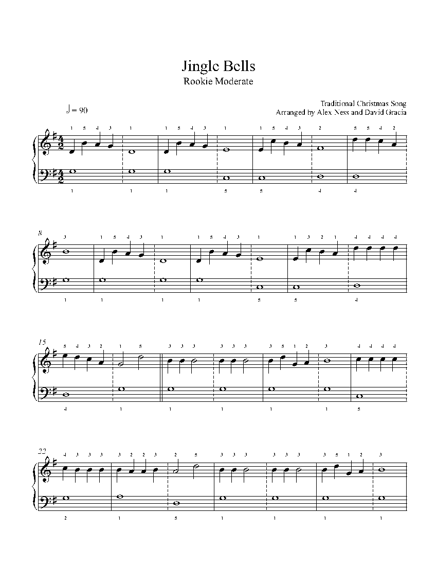 Jingle Bells by Traditional Piano Sheet Music | Rookie Level
