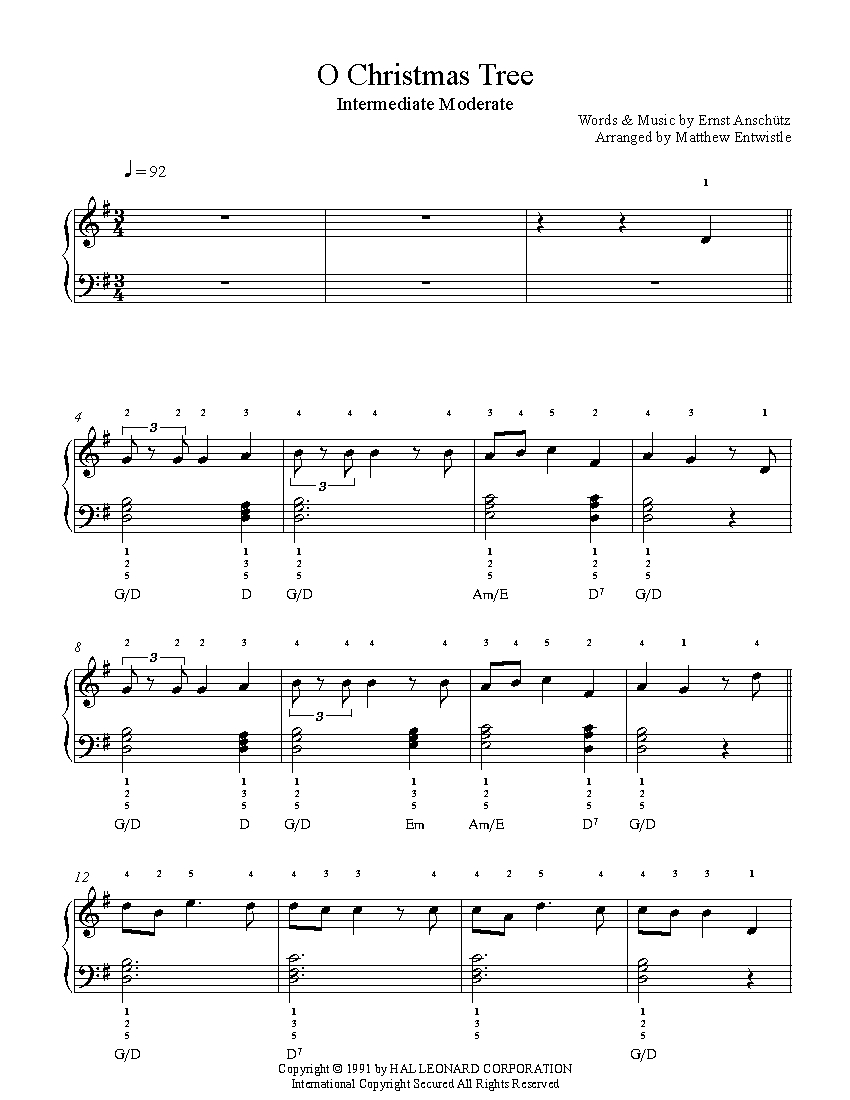 O Christmas Tree by Traditional Piano Sheet Music | Intermediate Level