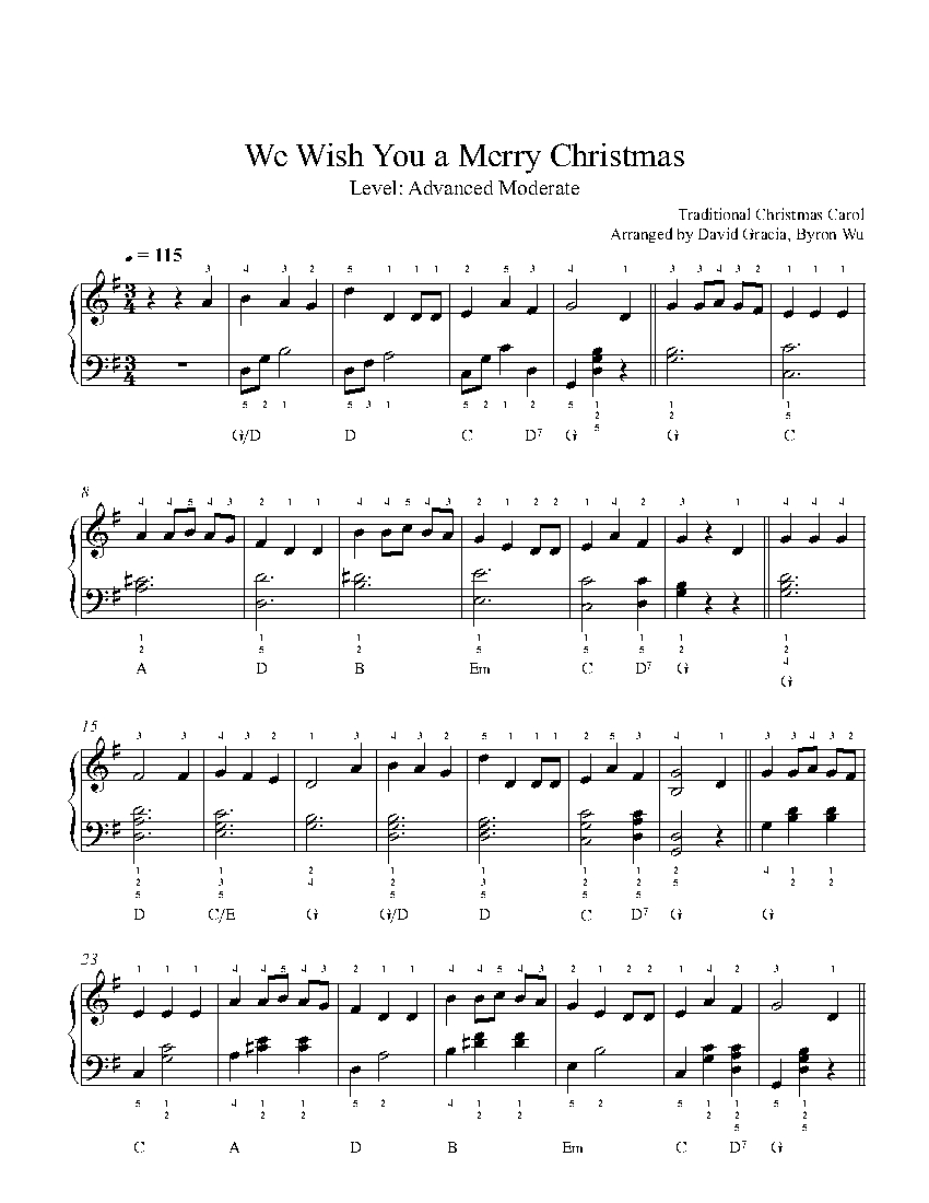 We Wish Ua Merry Christmas.We Wish You A Merry Christmas By Traditional Piano Sheet