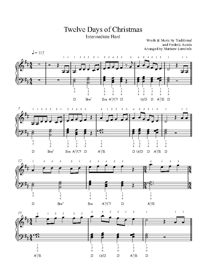 Twelve Days Of Christmas Sheet Music.The Twelve Days Of Christmas By Traditional And Frederic