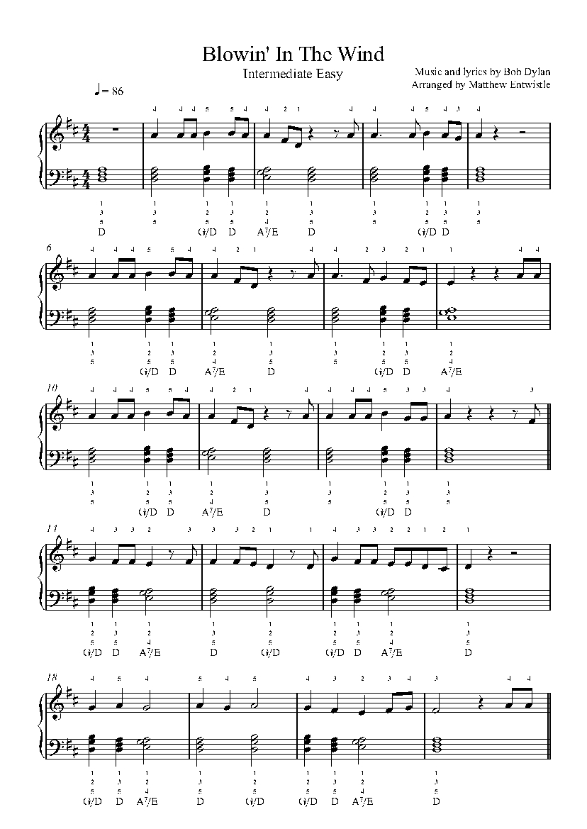 blowin in the wind piano sheet music free