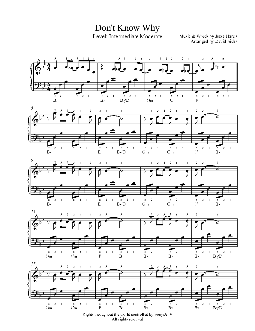 Don/'t Know Why by Norah Jones Sheet Music