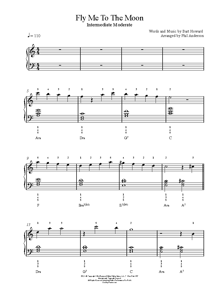 fly me to the moon by frank sinatra piano sheet music intermediate level. Black Bedroom Furniture Sets. Home Design Ideas