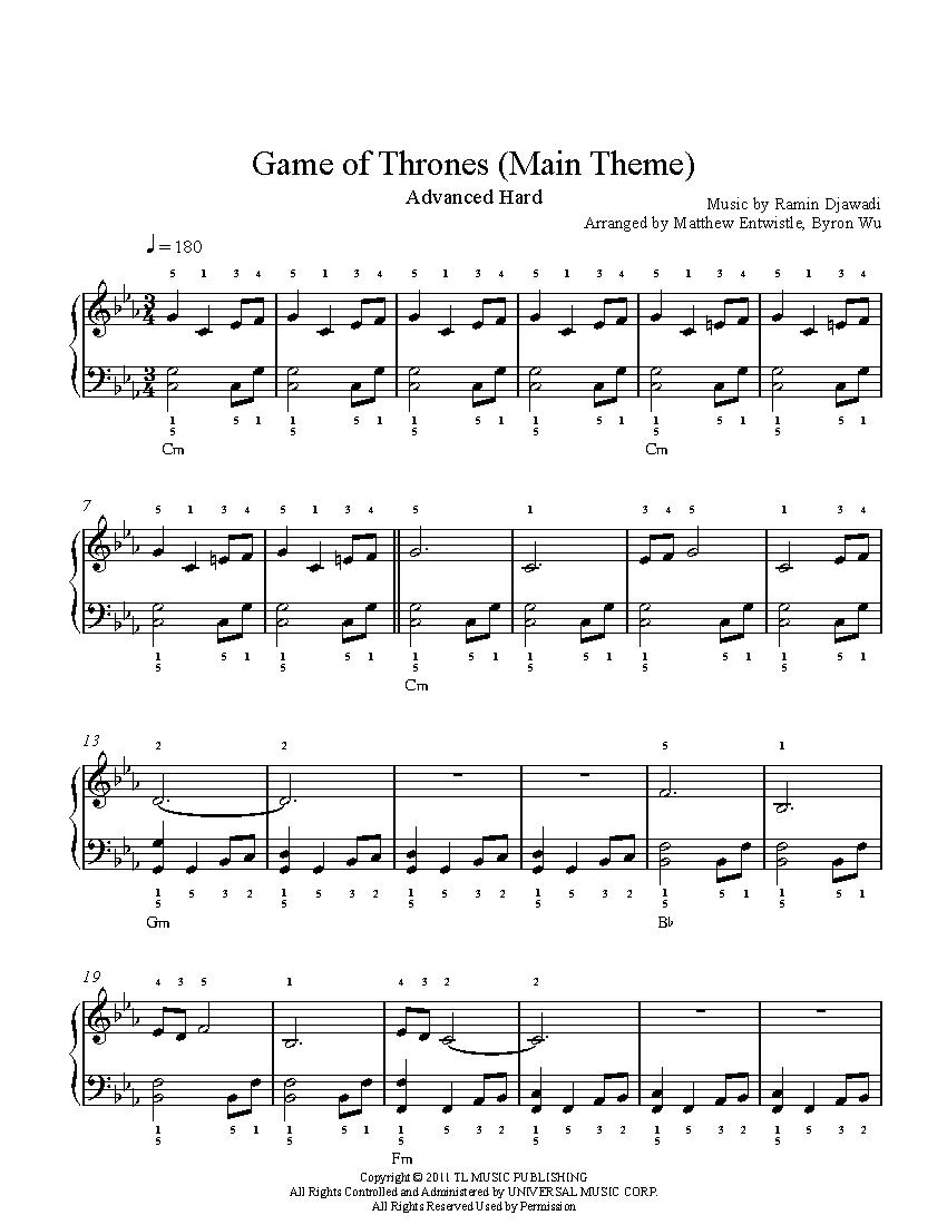 Game of Thrones Main Theme by Ramin Djawadi Piano Sheet Music