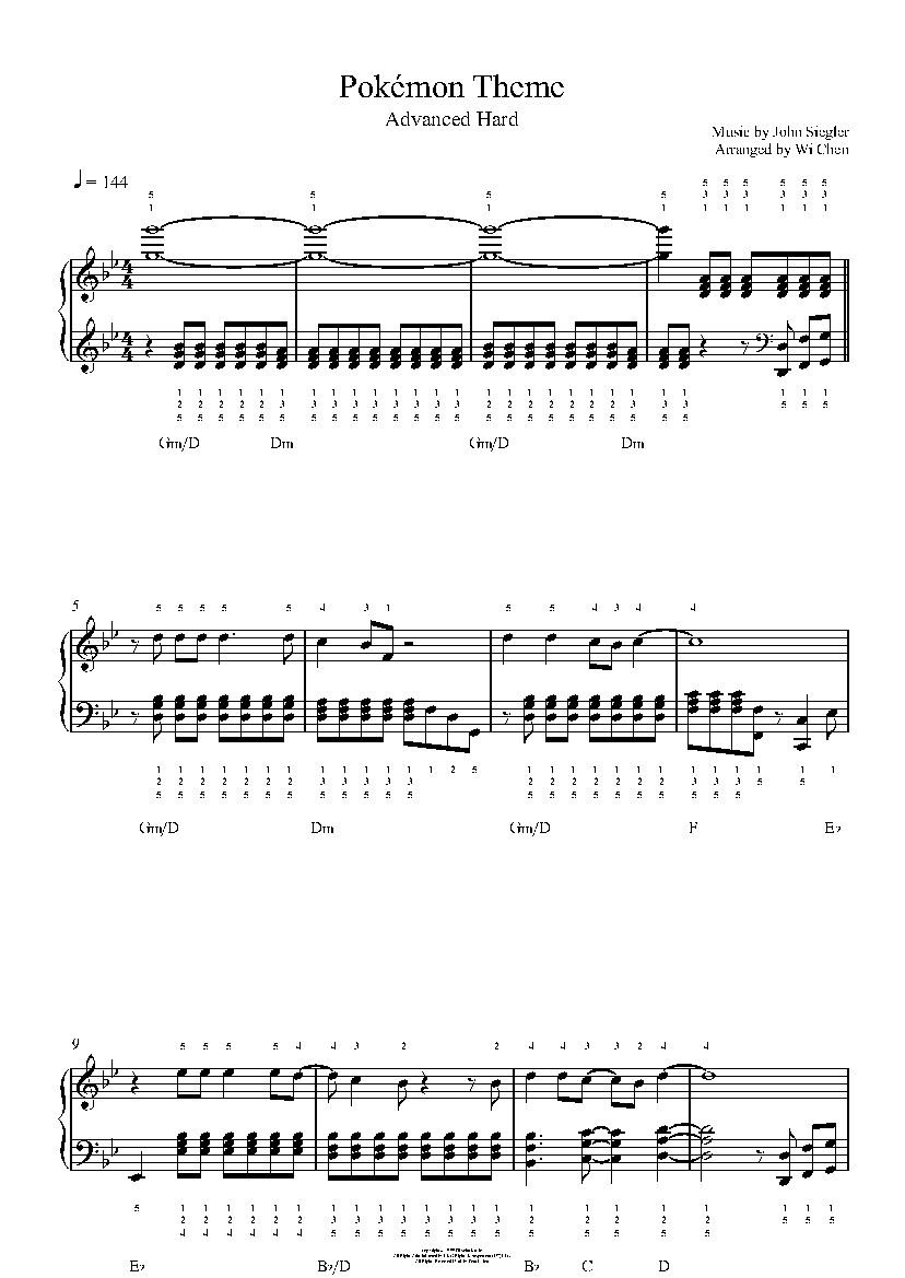 Pokémon Theme Song by Jason Paige Piano Sheet Music