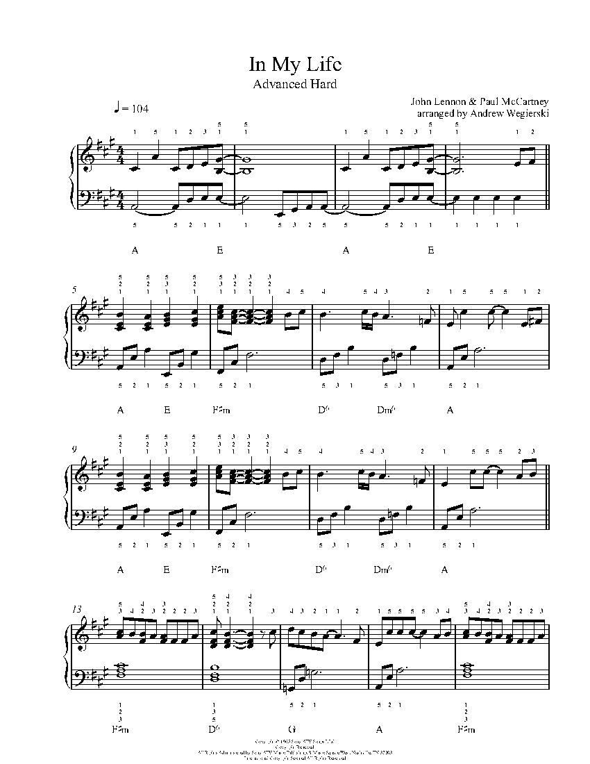 In My Life by The Beatles Piano Sheet Music   Advanced Level
