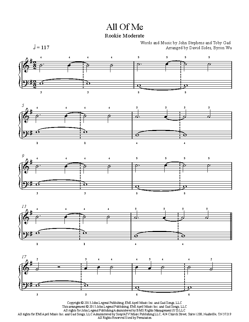 All Of Me Piano Sheet Music all of mejohn legend piano sheet music | rookie level
