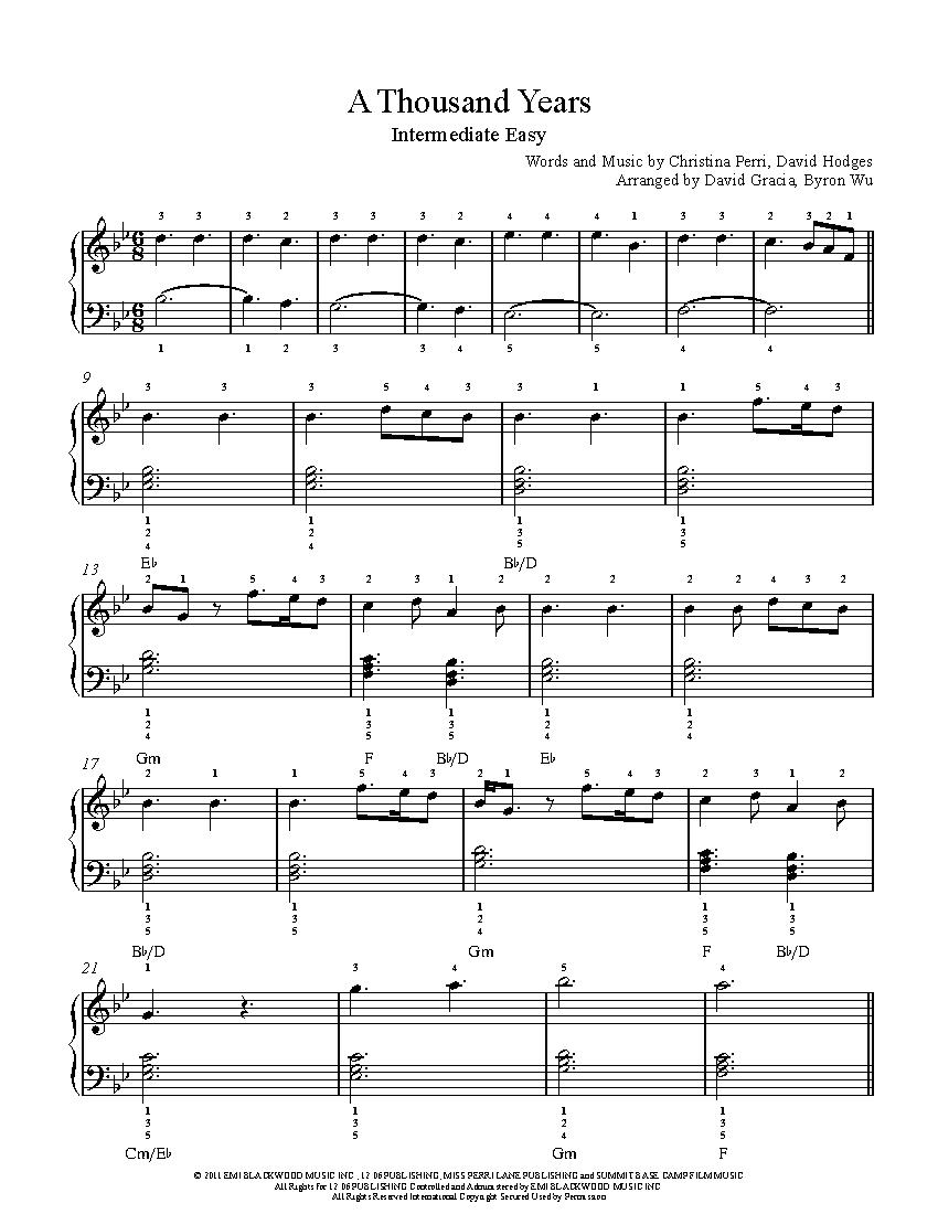 A Thousand Years By Christina Perri Piano Sheet Music Intermediate Level