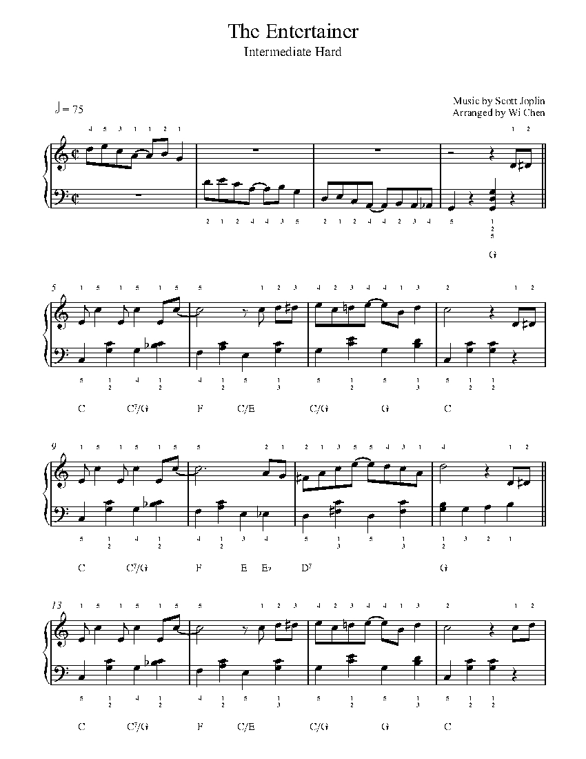 The Entertainer By Scott Joplin Piano Sheet Music Intermediate Level